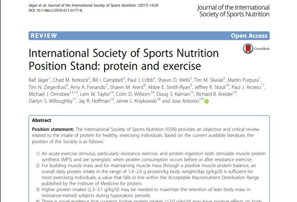 International Society of Sports Nutrition Position Stand: protein and exercise