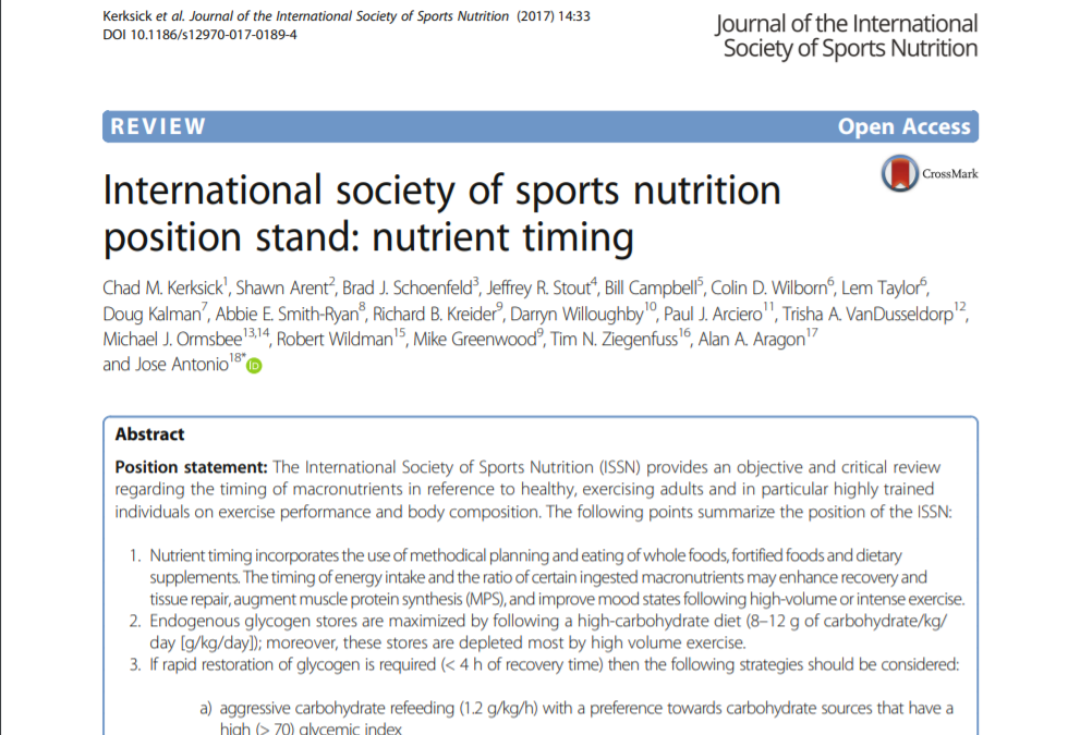 International society of sports nutrition position stand: nutrient timing